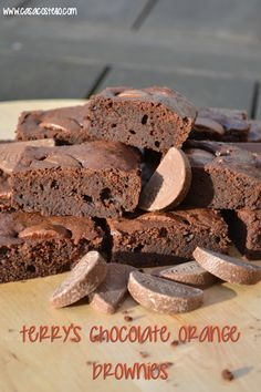 Terry's Chocolate Orange Brownies - Chocolatey Orange Flavour Brownies with a segment of Terry's Chocolate Orange in each slice