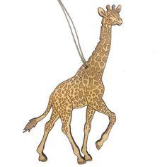 Wooden Giraffe Christmas Ornament