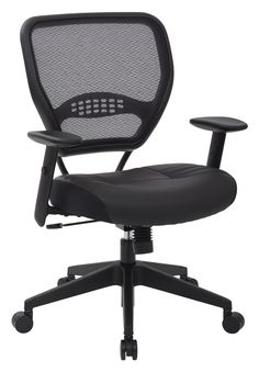 Amazon.com: SPACE Seating Professional AirGrid Dark Back and Padded Black Eco Leather Seat, 2-to-1 Synchro Tilt Control, Adjustable Arms and Tilt Tension with Nylon Base Managers Chair: Kitchen & Dining