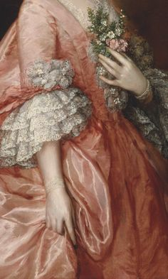 Portrait of Mary Little, Later Lady Carr  byThomas Gainsborough, 1763, detail.