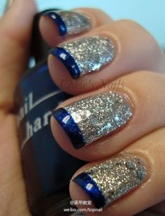 Silver Glittery Nails with Blue Hue Tips THIS WOULD GO PEEERRFF WITH MY DRILLTEAM BANQUET DRESS