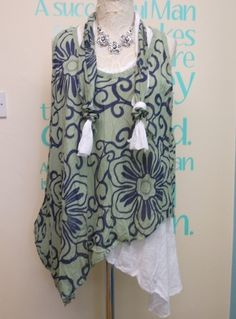 LAGENLOOK 2-IN-1 PATTERNED TUNIC TOP SET WITH SCARF IN KHAKI FITS UK 12-18   eBay
