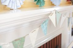 Paper flags strung on twine!