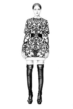 Fashion illustration - amazingly detailed lookbook sketch of Alexander McQueen belted dress  boots; fashion drawing // T.S. Abe