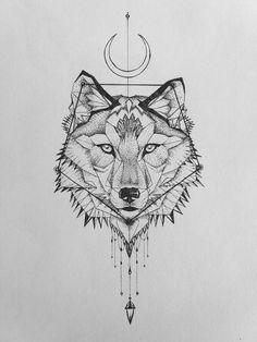 Geometric wolf tattoo.