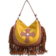 Women's Large Rhinestone Studded Western Hobo with Cross  Fringe Accents - Yellow