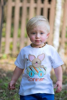 Boys Easter Shirt, Boys Easter Bodysuit, Easter Bunny in a Wagon, Boys Easter Bunny Shirt Bodysuit, Embroidered Applique Shirt or Bodysuit by AStitchofJoy on Etsy