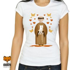 São Francisco com gatinho V Neck, T Shirt, Women, Fashion, St Francis, Little Kitty, Gatos, T Shirts, Supreme T Shirt