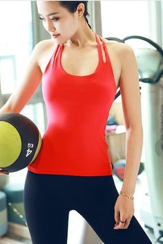 06d3429a4a Youbixi Women s Built-in Bra Tank Tops Racerback sports Camisole Yoga Gym  T-Shirt. Removable pads
