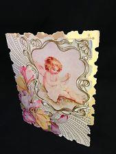 Vintage Angel Sewing Embossed Antique Victorian Art Noveau Valentine's Day Card Vintage Valentine Cards, Victorian Art, Valentines Day, Angel, Sewing, Antiques, Frame, Decor, Valentine's Day Diy