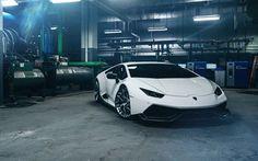 Scarica sfondi Lamborghini Huracan, Sport auto, tuning Lamborghini, bianco Huracan, garage, auto sportive italiane