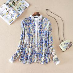 Europe and the United States 2014 new blouses stand collar short sleeves printed chiffon shirts women-in Blouses & Shirts from Apparel & Accessories on Aliexpress.com | Alibaba Group