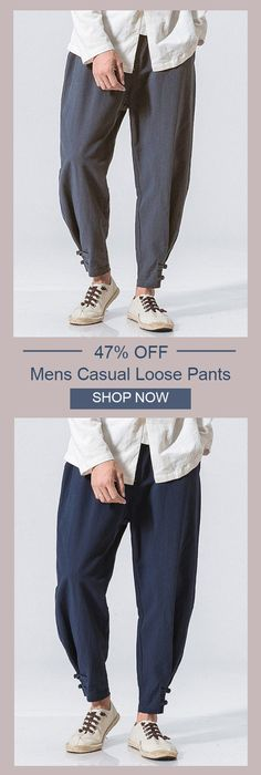 UP TO 47% OFF! Mens Casual Baggy Cotton Linen Harem Pants Solid Color Loose Frog Button Trousers. SHOP NOW!