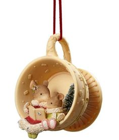 Mama Mouse & Baby Mouse in Tea Cup Ornament