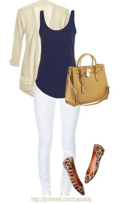 How to wear white jeans in fall - add a cardigan and scarf. This would also look great with tan flats or boots and a leopard scarf