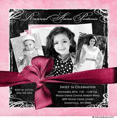 Sweet 16 Invitations | Pretty Sweet 16 Invitation - Childhood Photos Birthday Always 16th