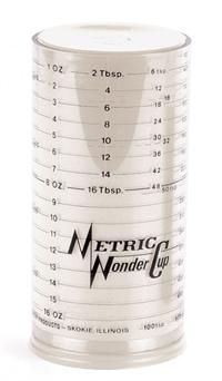 A Wonder Cup measures wet and dry ingredients in both metric and US scales.