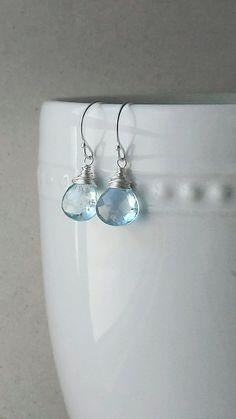 Blue Topaz Simple Silver Earrings Sterling Silver by BlackwoodArts
