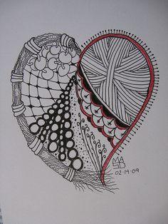 Zentangle heart by zengami journal - art inspirations зентан Zentangle Drawings, Doodles Zentangles, Zentangle Patterns, Doodle Art Posters, Doodle Art Journals, Journal Art, Zantangle Art, Zen Art, Heart Doodle