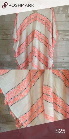 Boutique Poncho Cute poncho from ShopHopes.. White with black and hot pink... Tassels along the sides and frayed bottom.. Brand is Love of Fashion in New York LOF Tops
