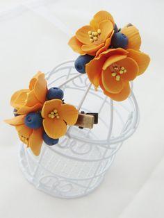 Orange fresia, blueberry hair clip - flower clip. Hair flower. Clay floral clip. Polymer clay flower (cold porcelain). Hair accessory.