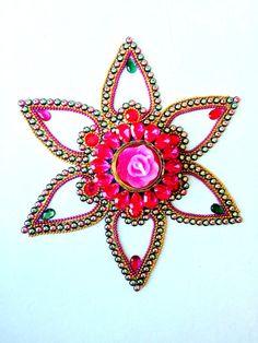 Diwali Rangoli - Rangoli - Kundan Rangoli - Pink and Green Rangoli - Star Bust Rangoli - Home decor Candle - Diya