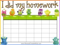 Homework sticker chart with the Trash Pack. Many more homework charts and other charts on this site (they are all free).