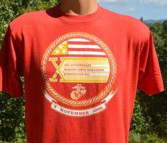 80s vintage t-shirt MARINE corps MARATHON 1985 road by skippyhaha