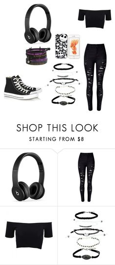 """Dark Days"" by the-weird-one-lexi ❤ liked on Polyvore featuring Beats by Dr. Dre, American Apparel, Converse, Dark, emo, scene and goth"