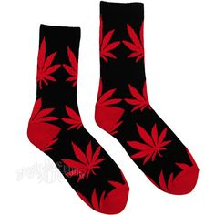 Cannabis Crew Socks Black/Red ($13) ❤ liked on Polyvore featuring women's fashion, intimates, hosiery, socks, black socks, hemp socks, crew socks, red hosiery and black hosiery