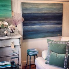 Lacefield Viridian Pillows | Saltwater Salvage Designs art | Photo via Airlie Moon - Wilmington, NC #coastalstyle #southernmade #interiors #designingwomen