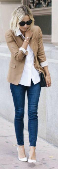 A great transitional outfit going from Summer to Fall. Camel blazer, white shirt, skinny denim leggings and white shoes. Via Jacey Duprie Blazer: J.Crew Regent, Bralette/Jean Leggings: Express, Blouse: Equipment, Bag: Chloe, Shoes: Manolo Blahnik
