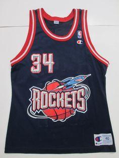 NBA VINTAGE Hakeem Olajuwon #34 Houston Rockets Jersey by Champion, Men's 40 #Champion #HoustonRockets