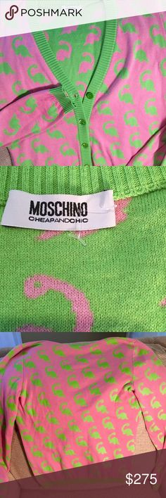 Moschino Cheap and Chic cardi w/ brontosaurus NWOT Moschino Cheap and Chic v-neck button front cardigan. The cardigan has the color scheme and style of a very preppy sweater but then you realize you are looking at a cotton candy pink cardi that is covered with brontosaurus' in a lime green. The interior is the same print but reversed colors with the green background and pink dinosaurs. Size M. I was able to find the sweater sold out on secondary markets but couldn't find the cardigan except…