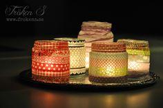 Make a lantern out of a glass jar and washitape