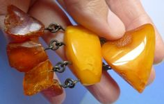 b1 Vintage USSR jewelry Honey Yellow Cognac Natural Baltic Amber gem Brooch 17 g
