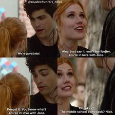 Episode 5 Alec and Clary having a argument about how Alec cant admit he loves Jace #shadowhunters
