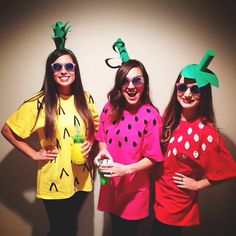 Follow | linseykfulton Diy Fruit Costumes . We bought plain colored shirts from Hobby Lobby $3.99 cut out felt seeds $0.75 the leaves were green card stock ➕a toilet paper roll glued on headbands $2.00 Charlotte Russe sunglasses $0.99 NAILED IT $7.73 #diycostume #halloween #diypineapple #watermelon #strawberry #fruit #hobbylobby