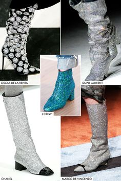 Gliteratti Boots Shimmer What's more sparkle in this new boot pattern. Chanel's space age go-go pair will take you out about this world, and the Rihanna-worn example of piety Laurent ones will settle on you feel like An star. Think about this the white boot from claiming fall—aka, an absolute necessity have.   GETTY, IMAXTREE.