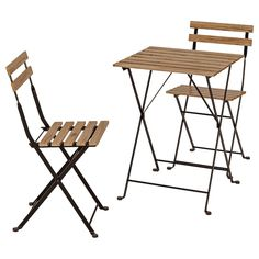 Refresh your home - ÄPPLARÖ Bistro set, outdoor, brown stained. Beauty that lasts, from sustainably sourced acacia. This ÄPPLARÖ dining set is the perfect size for smaller balconies or decks – and the table can be extended for relaxing meals with friends. Outdoor Table Tops, Outdoor Chairs, Outdoor Decking, Outdoor Box, Ikea Outdoor, Adirondack Chairs, Outdoor Decor, Chair Pads, Chair Cushions