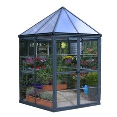 Do you want a greenhouse in a pavilion style? The Palram Oasis is a hexagonal greenhouse that could be the future eyecatcher in your garden! Lean To Greenhouse, Outdoor Greenhouse, Cheap Greenhouse, Greenhouse Wedding, Greenhouse Plans, Outdoor Gardens, Homemade Greenhouse, Portable Greenhouse, Underground Greenhouse