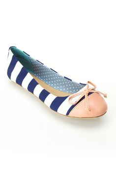 Dollhouse Koni Ballet Flats In Navy & White - Beyond the Rack
