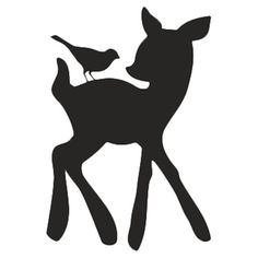 Deer and bird silhouette chalkboard decal.  Product: DecalConstruction Material: VinylColor: Bla...