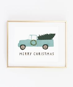 Merry Christmas/O Christmas Tree // modern minimal home decor gift holiday Christmas art print wreath truck wall art // Artist: Jones Design Company // Available in 5x7, 8x10, 11x14. // Shop http://makerandink.com