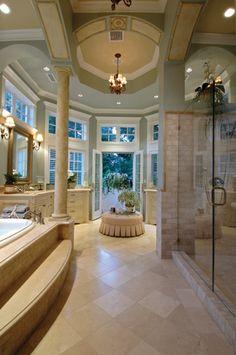Master bathroom with a balcony. so elegant
