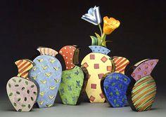 Diana Crain Ceramic Wall Vases . . . unique, colourful and delightful! . . .