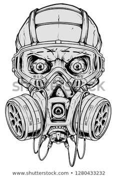 Detailed graphic realistic cool black and white human skull with protective gas mask and crazy eyes. Isolated on white background. Gas Mask Drawing, Gas Mask Art, Masks Art, Skull Tattoo Design, Tattoo Design Drawings, Tattoo Sketches, Art Drawings, Graffiti Drawing, Graffiti Art