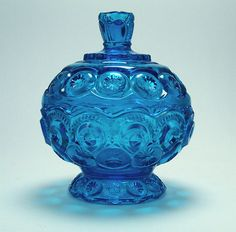 L. E. Smith blue depression glass candy bowl with lid