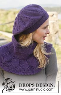 """Dear Mary - Set consists of: Knitted DROPS neck warmer and hat with lace pattern in """"Lima"""". - Free pattern by DROPS Design"""