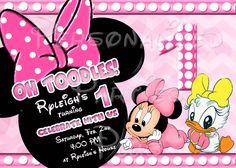 Baby Minnie Mouse Baby Daisy Duck invitations have pink polka dots, baby Minnie Mouse and baby Daisy Duck on them. They also have your child's age in pink and white polka dots.  There are two different backgrounds to these invitations. One has ...